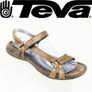 TEVA VENTURA Women Size 8.5 SANDALS BROWN Leather